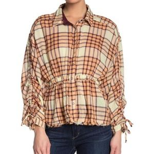 Women Free People Peach Tree Plaid Shirt Size XL